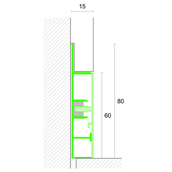Profilpas –  Profilo base art. 99/C in alluminio naturale h. 60 mm da battiscopa per intonaco – barra da mt 2,00
