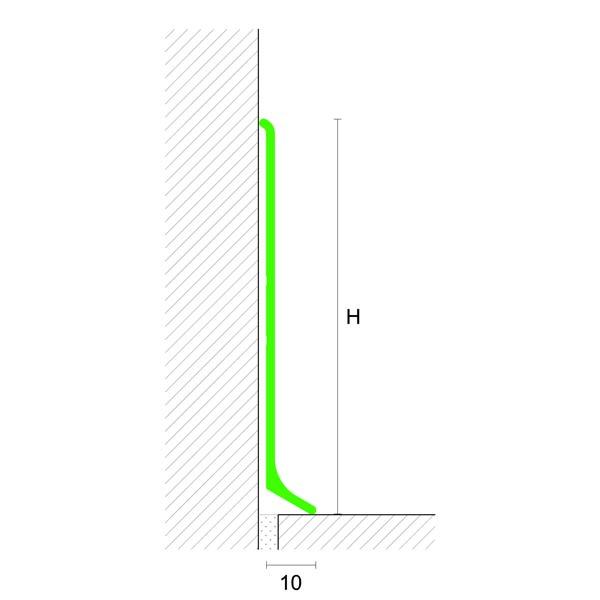 Profilpas – Battiscopa art. 90/6SF in alluminio verniciato bianco lucido h. 60 mm – barra da mt 2,00
